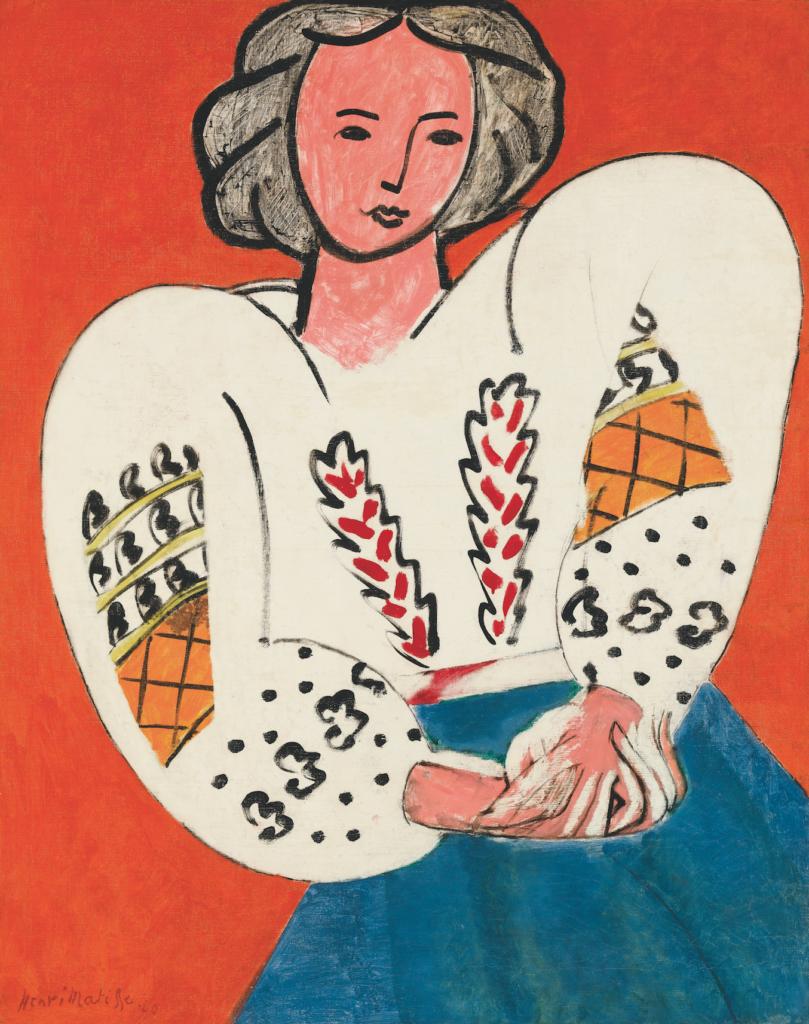 Henri Matisse, 'La Blouse roumaine', 1940. Olieverf op doek, 92 × 73 cm. Centre Pompidou, Musée national d'art moderne, Parijs. Don de l'artiste à l'État, 1953. Attribution, 1953. © Succession H. Matisse. © Foto: Centre Pompidou, Mnam-Cci/Georges. Meguerditchian/Dist. Rmn-Gp.